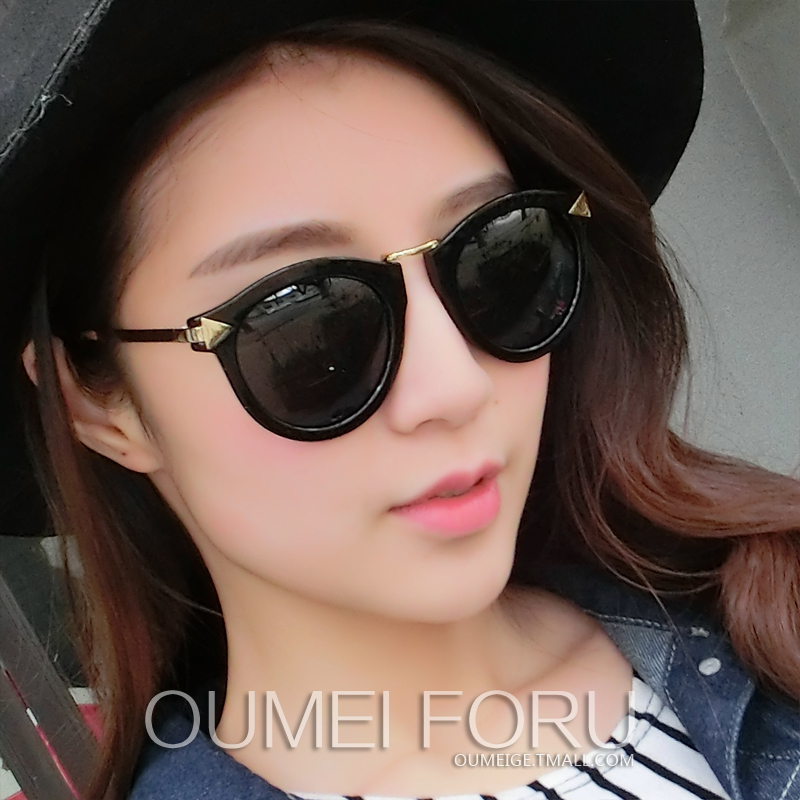 European and american fashion tidal wave of people retro sunglasses polarized sunglasses female big box round the influx of women can be equipped with myopia glasses