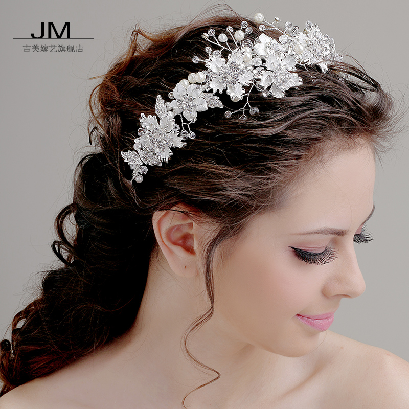 European and american handmade rhinestone crystal bridal wedding dress with jewelry crown hair ornaments head ornaments jewelry free shipping HG7706