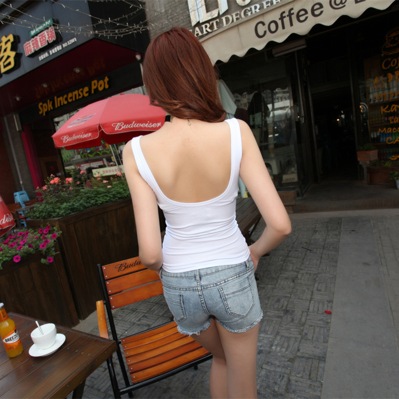 European and american nightclub sexy ladies sexy low cut halter u collar slim solid color camisole vest t-shirt female