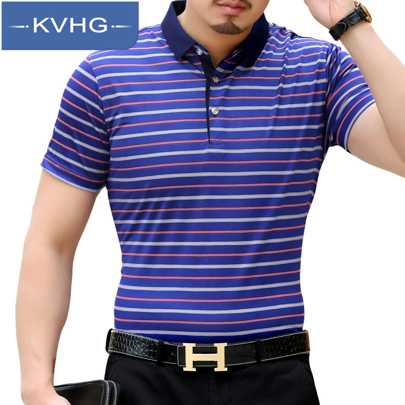 European and american style kvhg middle-aged men's fashion casual short sleeve t-shirt shirt new wild striped polo shirt tide 6085
