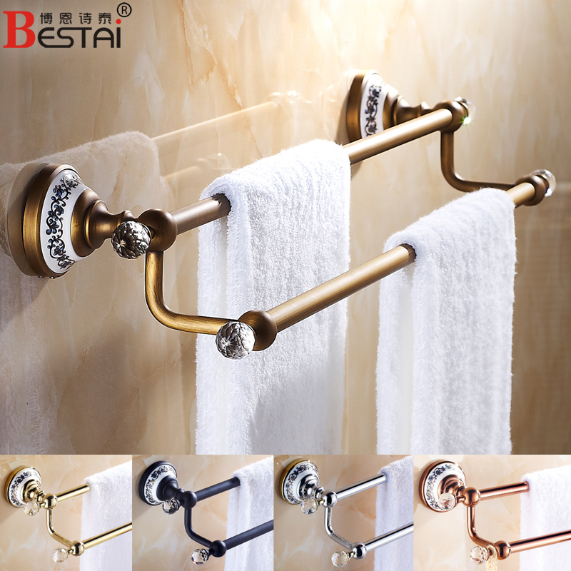 European antique rose gold golden copper bathroom towel bar/rack black double rod bathroom accessories