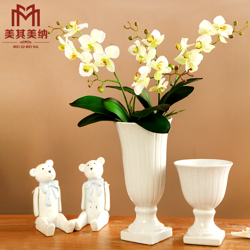 European artificial flowers silk flower phalaenopsis flower decoration flower gift set creative home office room living room floral ornaments floral ornaments
