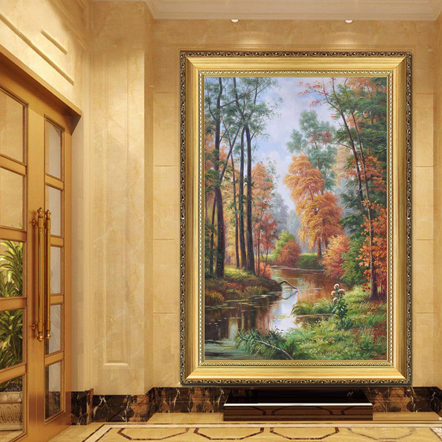 European classical painting landscapes painted villa decorative painting the living room entrance hallway mural paintings lucky tree hanging