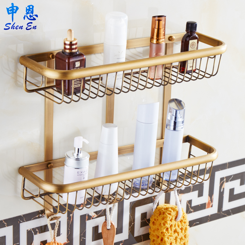 European copper bathroom single rectangular basket black antique bronze double basket racks cosmetics planes
