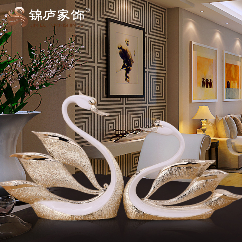 European couple swan ornaments home decorations living room wine resin crafts wedding gift ideas wedding