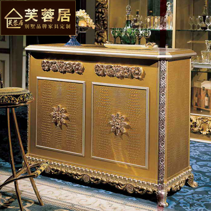 European court of hibiscus habitat golden french carved wood bar tables bar drinks cabinet villa custom furniture