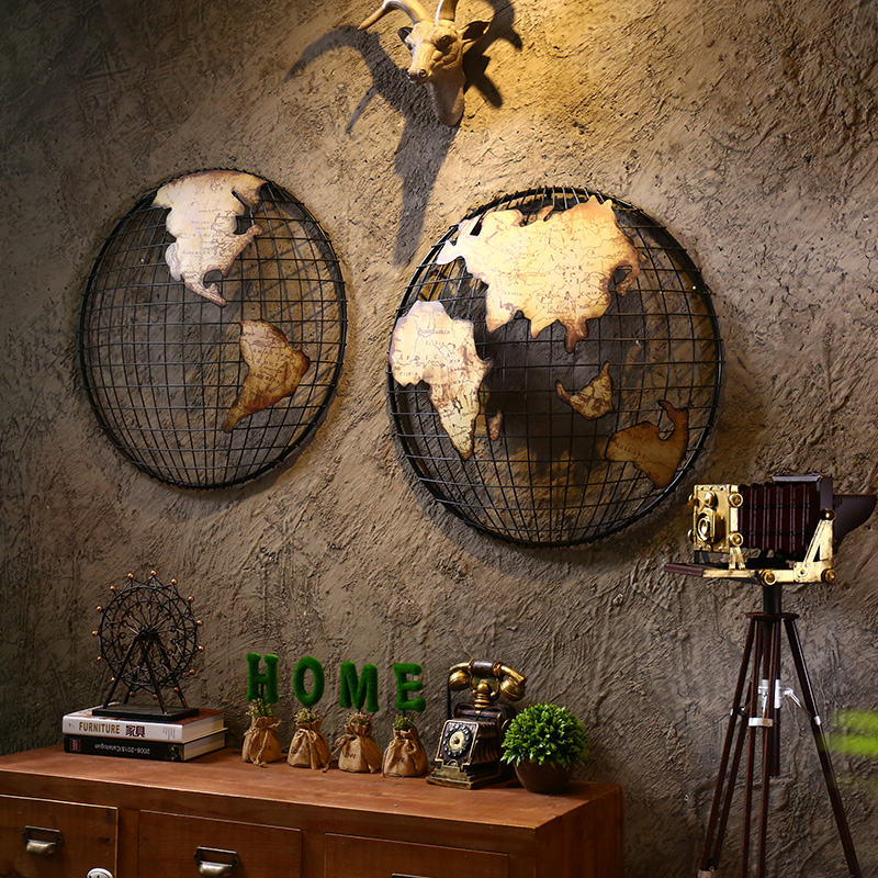 European creative retro bar decorative mural wall decorations wall map of the world on the wall home crafts