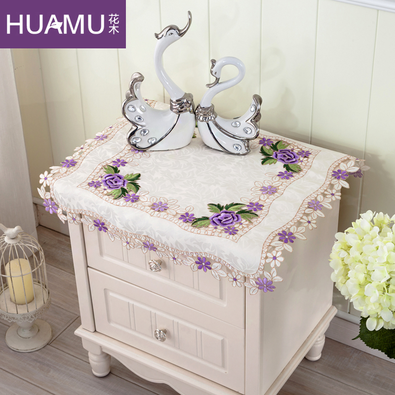 European flowers embroidered pastoral cloth cover refrigerator cover cloth towel bedside cabinet bedside cabinet air conditioning cover tv cover towel multi