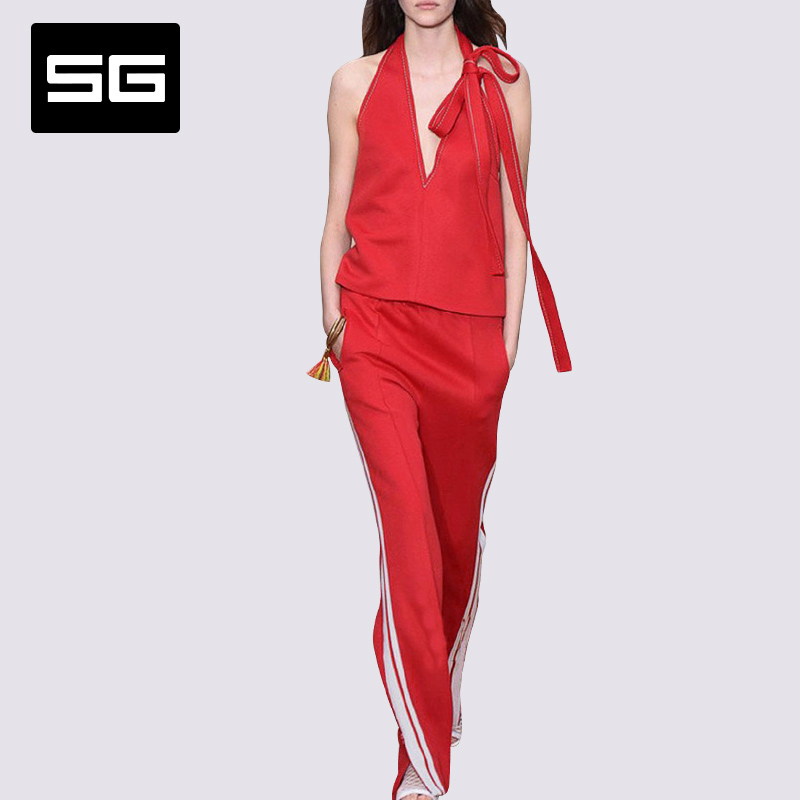 European grand prix 2016 spring new fashion sexy sleeveless shirt suit female summer influx of european and american big temperament ladies