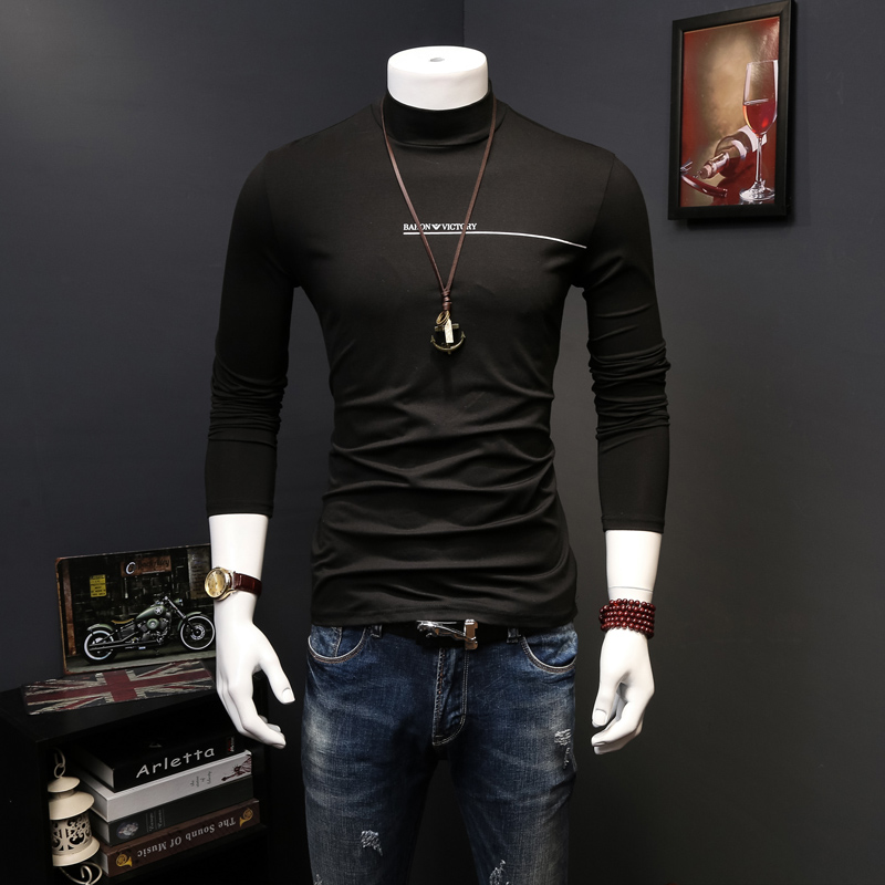 European grand prix mercirizing and a half high collar cotton long sleeve t-shirt men thin section modal tight slim bottoming shirt tide male compassionate