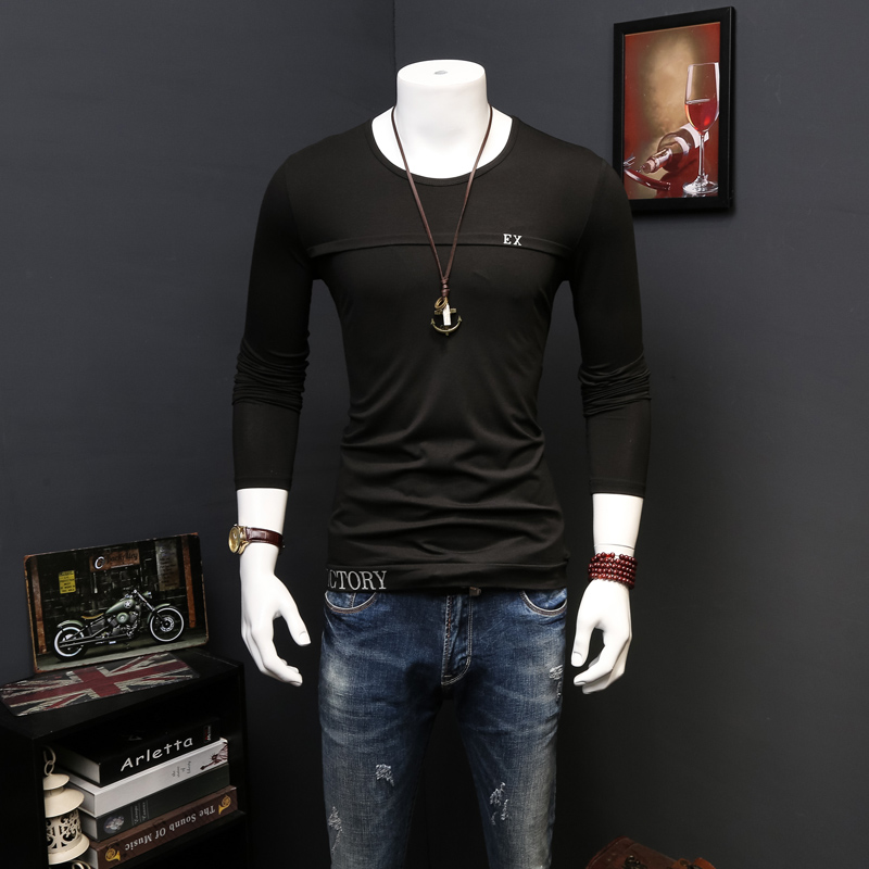 European grand prix slim mercerized cotton round neck t-shirt men long sleeve thin modal tight bottoming shirt tide male compassionate small shirt