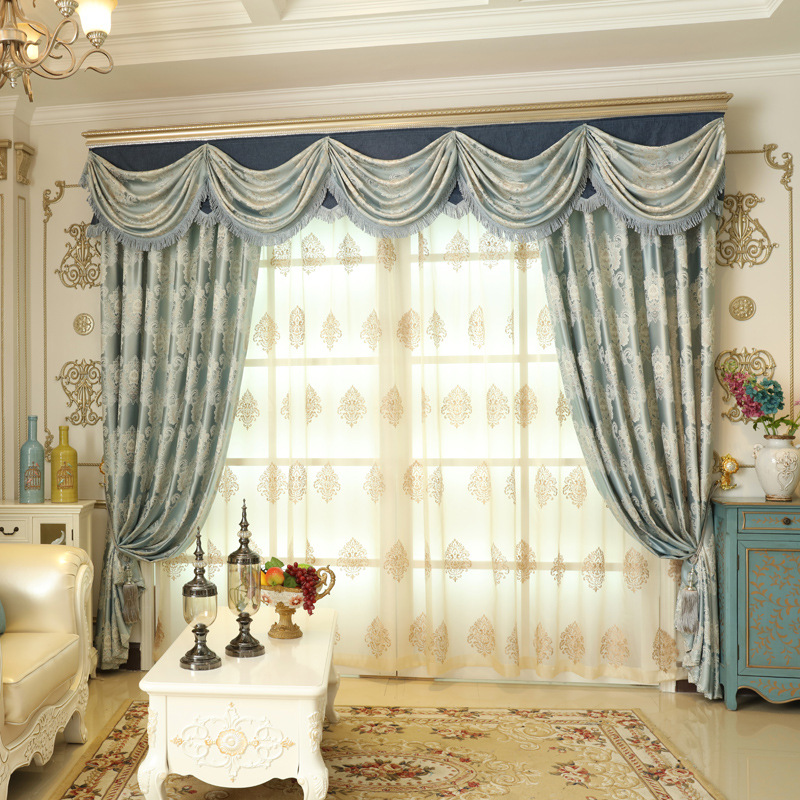Get Quotations European Jacquard Curtains Living Room Luxury Villa Windows Bay Window Marriage Full Blackout Finished