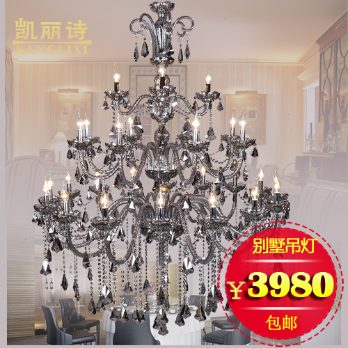 European living room crystal light gray smoke crystal chandelier penthouse floor villa in the lobby floor ladder three layer crystal candle lamp