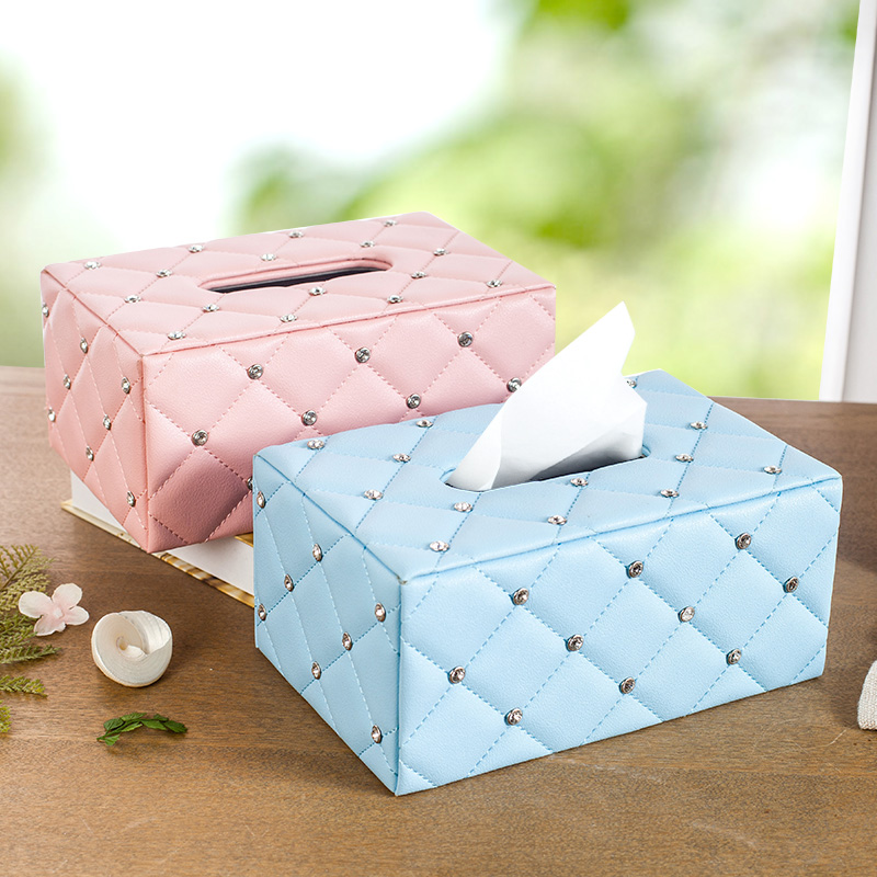 European living room leather tissue box tissue box rectangular storage baskets creative desktop storage box car with a napkin box pumping tray