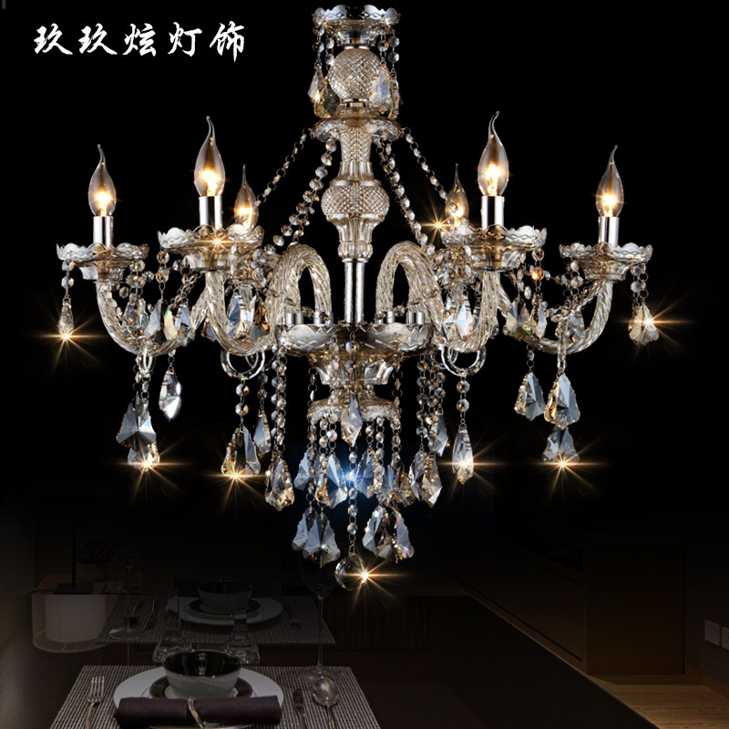 ççç«european luxury candle chandelier crystal lamp living room lights restaurant bedroom lamps lighting 1618 6 8 head