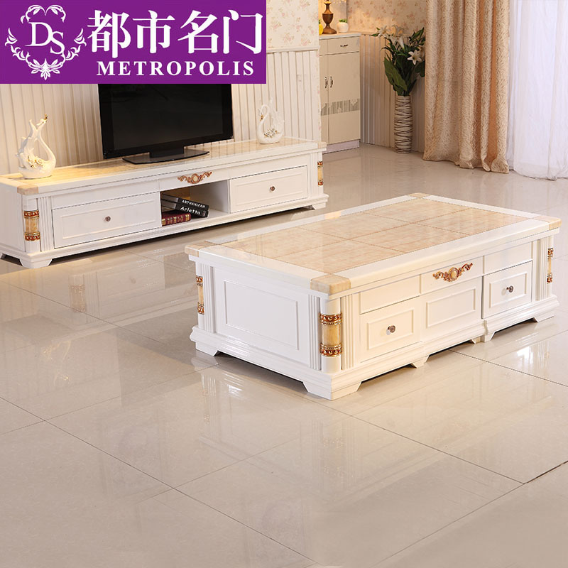 European marble coffee table tv cabinet combination suit modern minimalist small living room bedroom small apartment solid wood