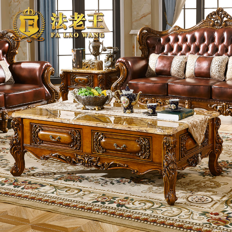 European natural marble coffee table small apartment living room minimalist combination of french carved wood kung fu tea table