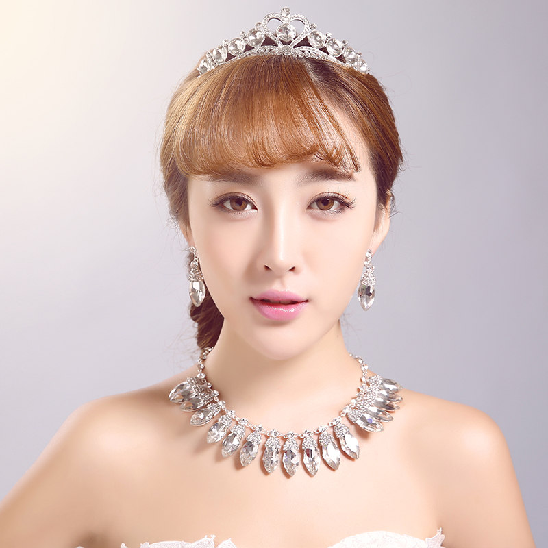 European poetry man shannon three sets of jewelry bridal headdress hair accessories jewelry necklace crown earrings wedding jewelry marriage knot