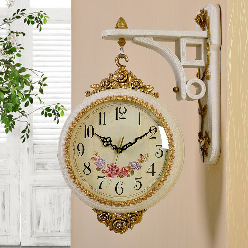 European sided wall clock creative fashion personality mute sided clocks large living room wall clock hanging table clock