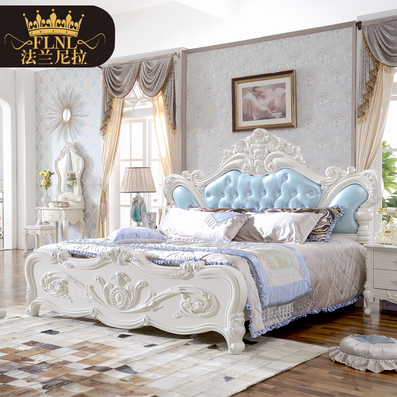 European solid wood bed continental furniture bedroom ensemble six sets of furniture suite bed wardrobe dresser
