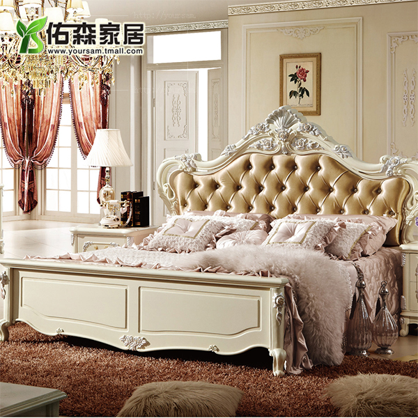 European solid wood suite french palace european classical carved wood bedroom double bed bedroom furniture