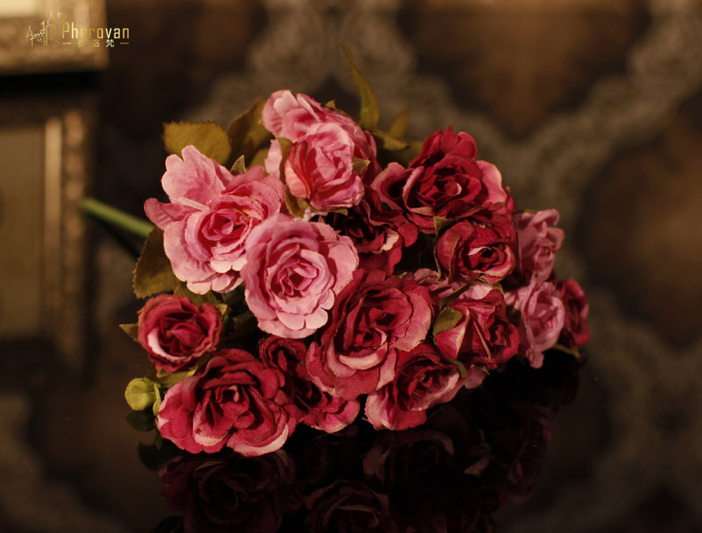 European style绢制maria rose high simulation simulation silk flower bouquet silk flower artificial flowers decorative dried flowers f359