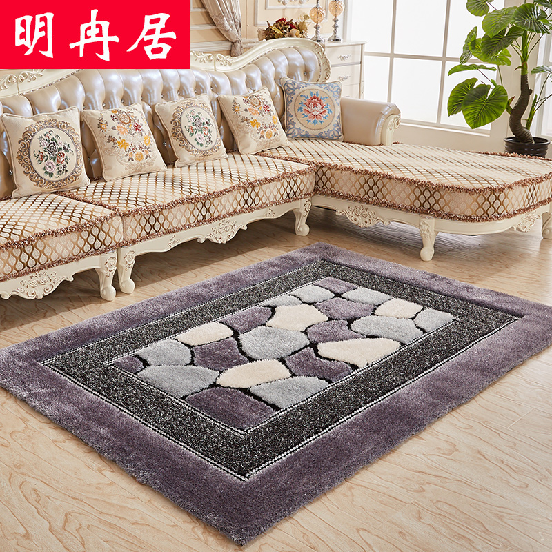 European thickening encryption stretch silk carpet living room coffee table bedroom three-dimensional pattern rectangular carpet can be customized