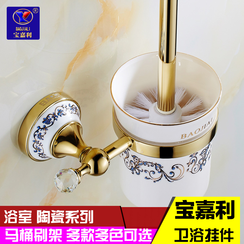 European toilet toilet brush holder cup holder bathroom accessories bathroom accessories set crystal rose gold plated ceramic toilet brush rack shelving