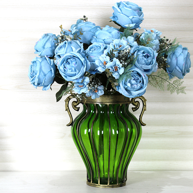 European transparent glass vase creative wrought iron ornaments retro living room decorative gift dried flower vase hydroponic