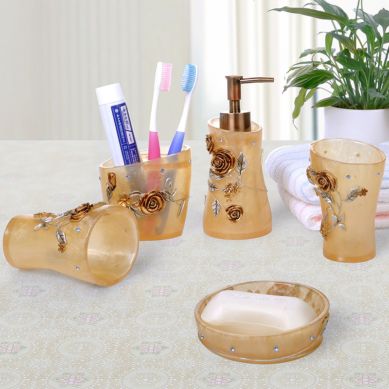 European wedding gift suite bathroom wujiantao toiletries resin bathroom suite bathroom toiletries kit cups