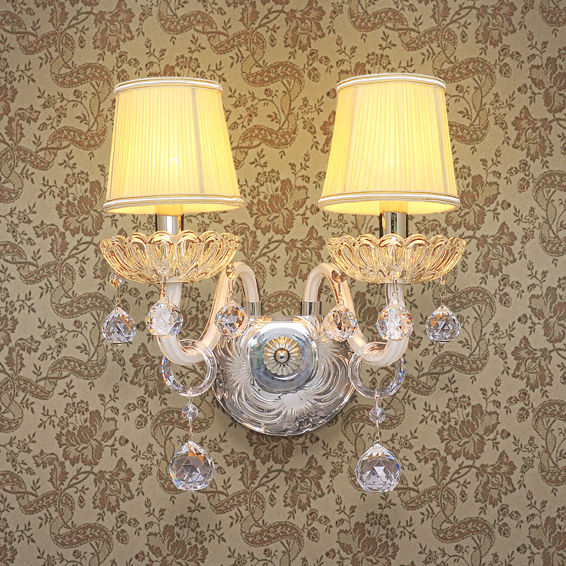 European white crystal lamp crystal candle lamps bedroom wall lamp wall lamp single head stud wall lamp bedside lamp living room lighting