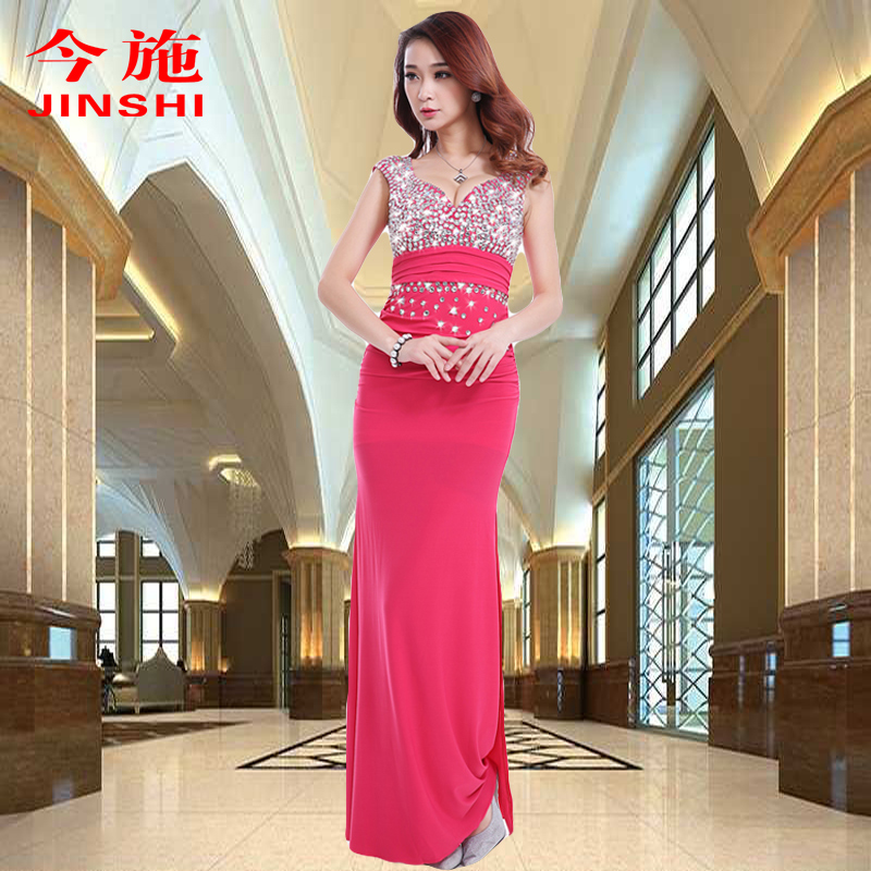 519a600f5b Get Quotations · Evening dress sexy v-neck halter dress welcome nail drill low  cut catwalk show host