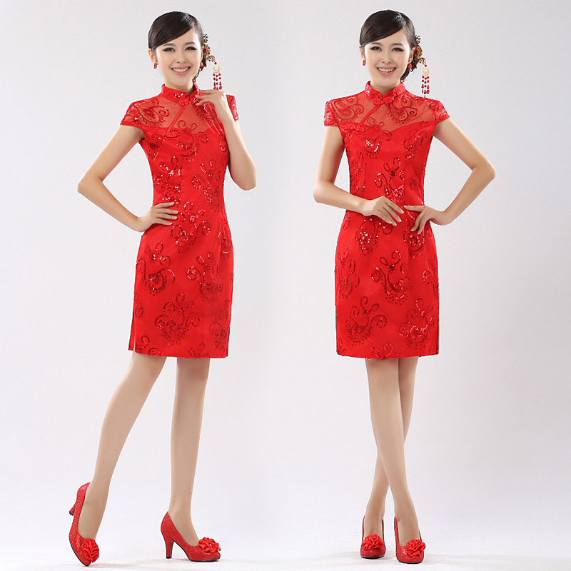 Every bride wedding dress bride wedding toast red cheongsam dress short cheongsam improved cheongsam