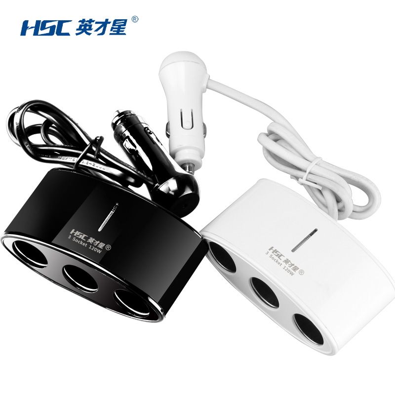 Excellence star car charger car cigarette lighter socket porus plug hole car charger delayed three cigarette lighter