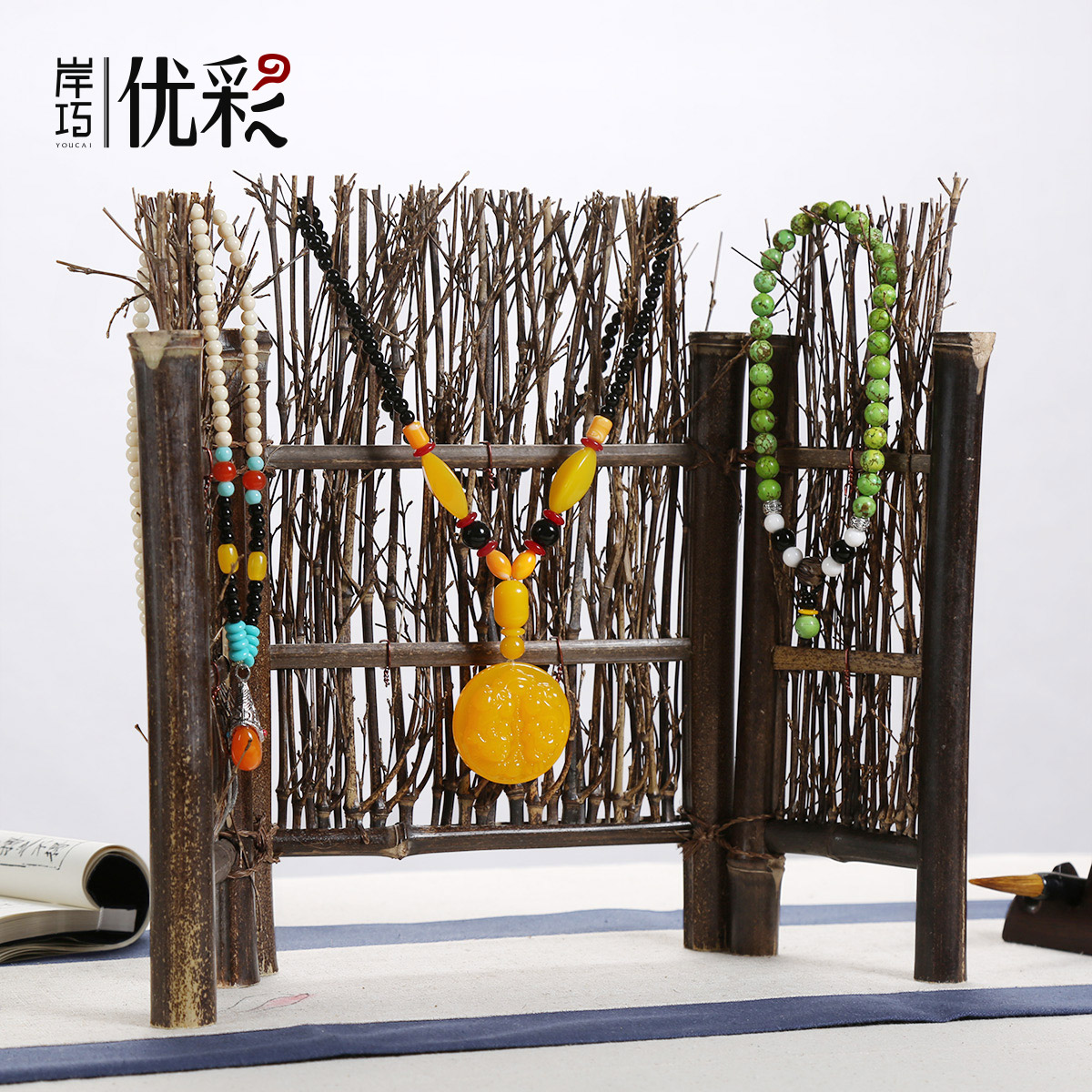 Excellent color rustic style creative jewelry rack bracelet rosary beads ornaments props wind quaint hand woven screens