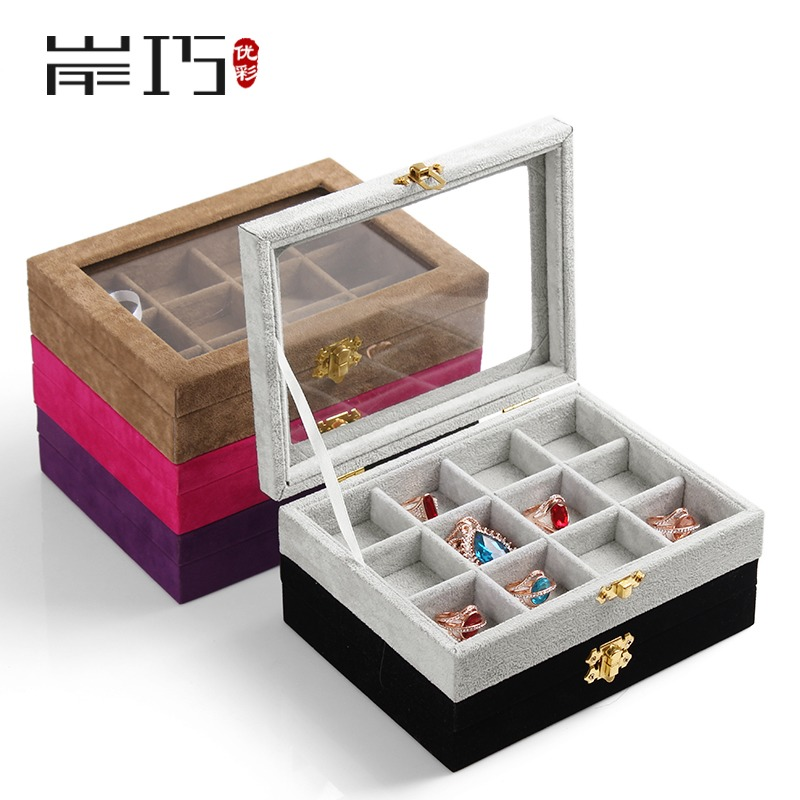 Excellent color trumpet covered jewelry box jewelry storage box earrings bracelet necklace earrings ring display box
