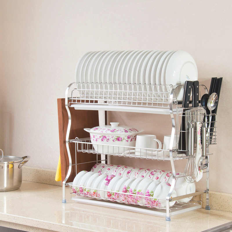 Excellent meng 304 stainless steel dish rack dish rack dish rack drain and three layers of large size can be wall cutlery tray shelf