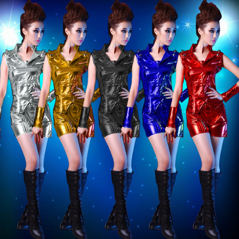 Explosion models small apple costumes sequined suit modern hip-hop jazz dance play out summer clothing female performance clothing