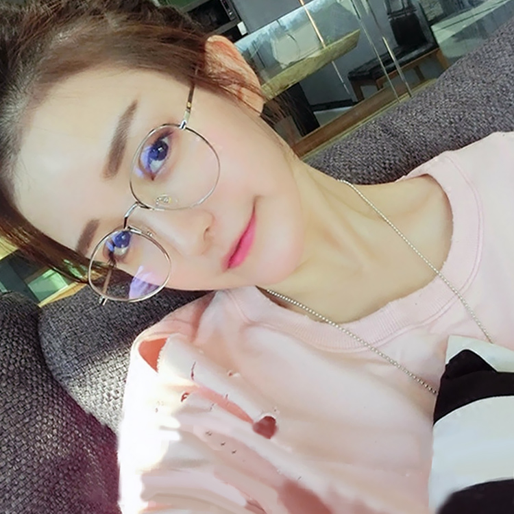 Eye box frames female retro round metal frame glasses frame female models with myopia glasses frames for men and women round plain mirror