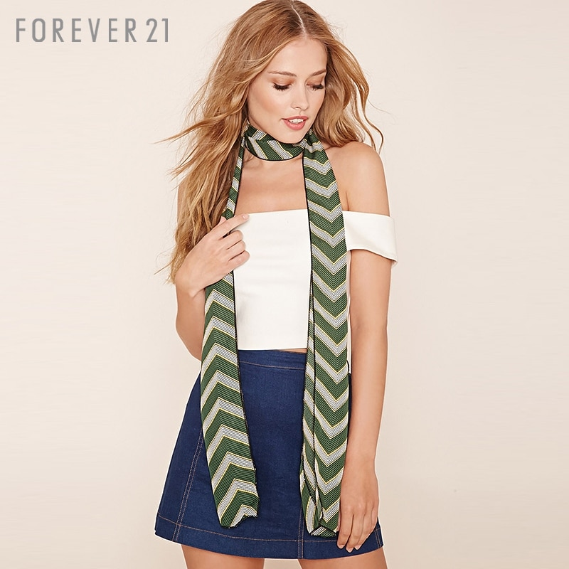 [F21] forever21 rectangle thin hit color stripes printed scarf scarf/scarf/shawl