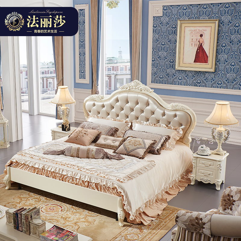 Fa lisha furniture continental bed wood bed double bed 1.8 princess bed french bed marriage bed storage 1.5 m g_2