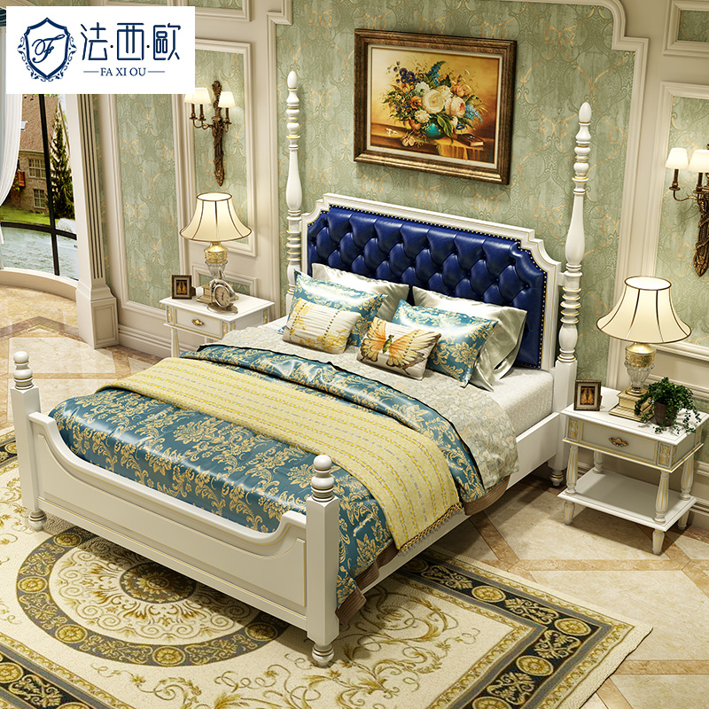 Fa xiou all solid wood american retro furniture bed continental leather bed leather bed 1.8 m double bed specials roman