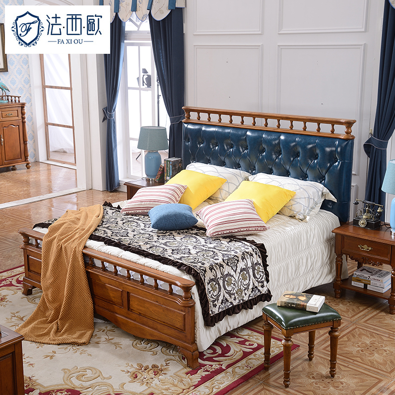 Fa xiou solid wood american country furniture continental bed double leather bed 1.8 m double bedroom solid wooden bed