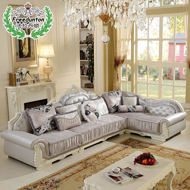 Fala dan benton sx simple european french furniture wood sofa fabric corner sofa combination living room