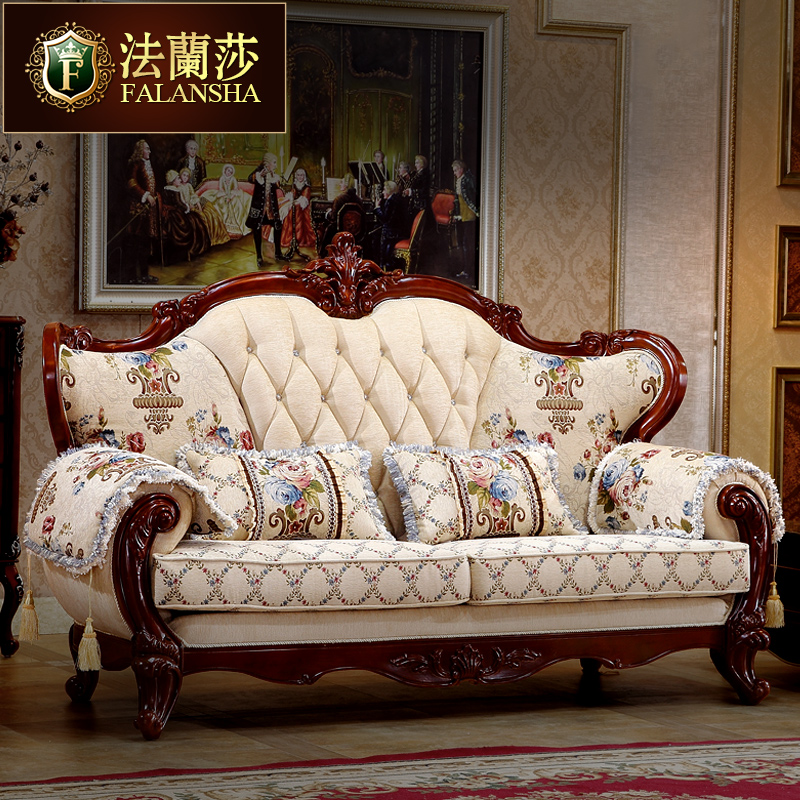 Falan sha european wood sofa hotel sofa fabric sofa upscale american luxury villa wood classical sofa