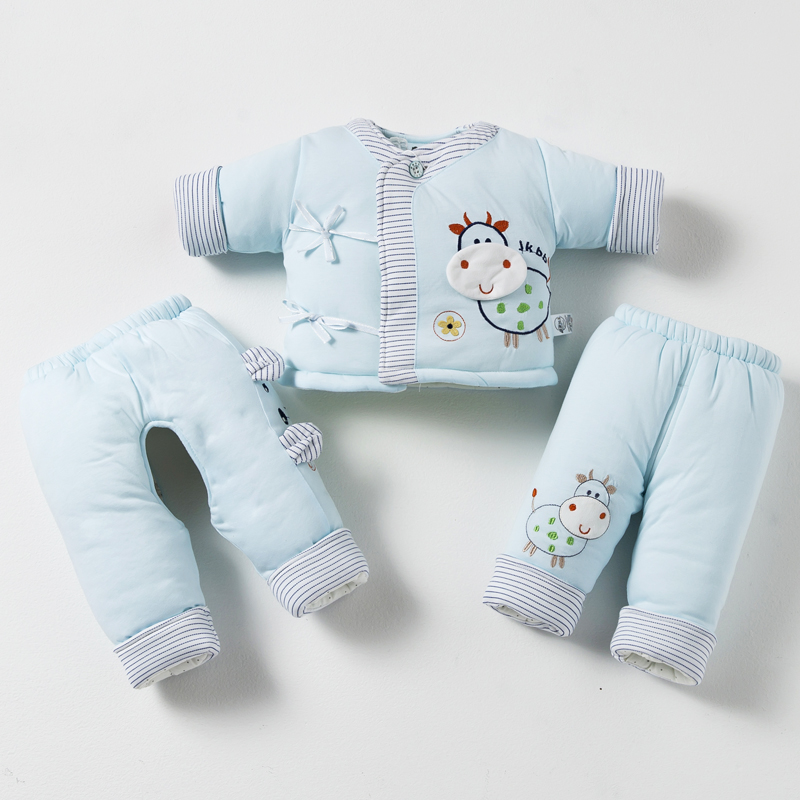 Fall and winter clothes newborn baby clothes cotton suit spring and autumn baby cotton baby clothes for men and women three sets of thick 0-1-year-old
