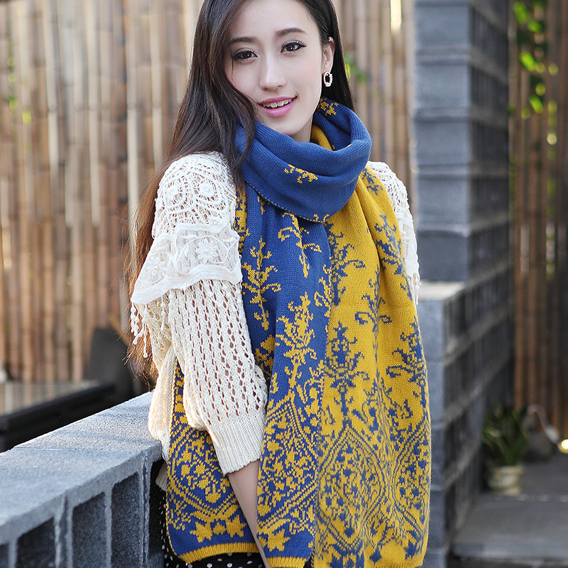 Fallon expensive rok tide blue and white jacquard knit scarf ms. autumn and winter days warm brushed wool scarf woman