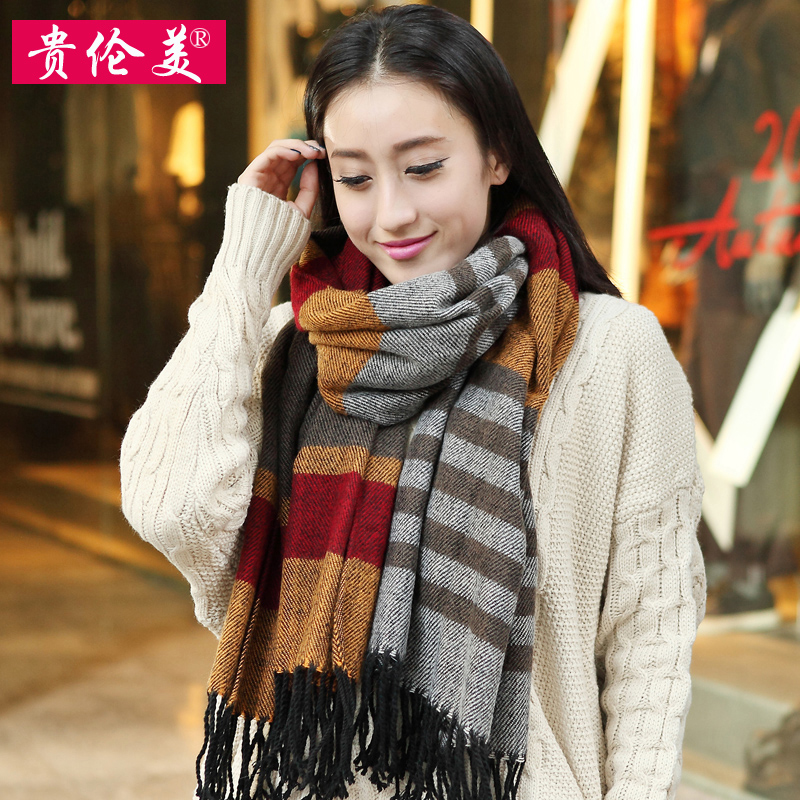 Fallon rok expensive version ms. classic plaid scarf fringed shawl dual female fashion wool scarf autumn and winter days