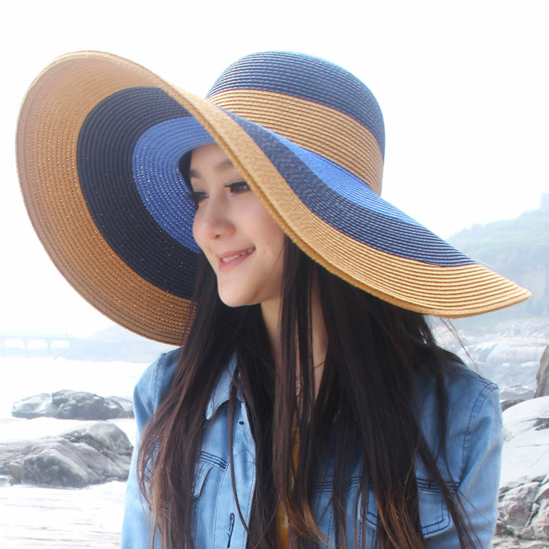Fallon rok expensive version spell color fashion plaid ms. large brimmed straw hat summer sun visor beach hat tide