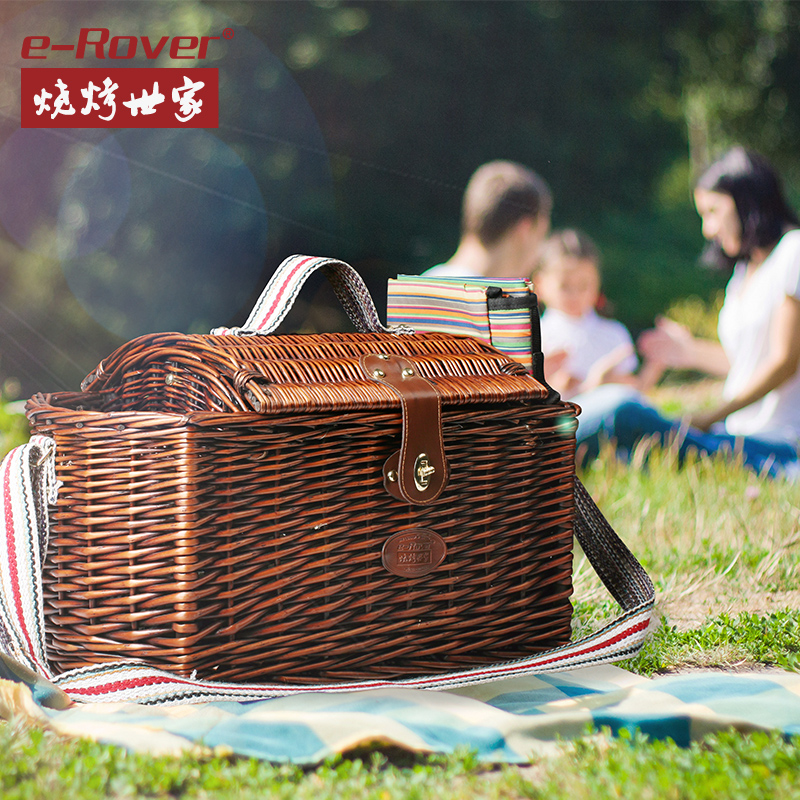 Family barbecue grill outdoor rattan wicker basket portable storage basket with lid insulation idyllic picnic basket to send tableware